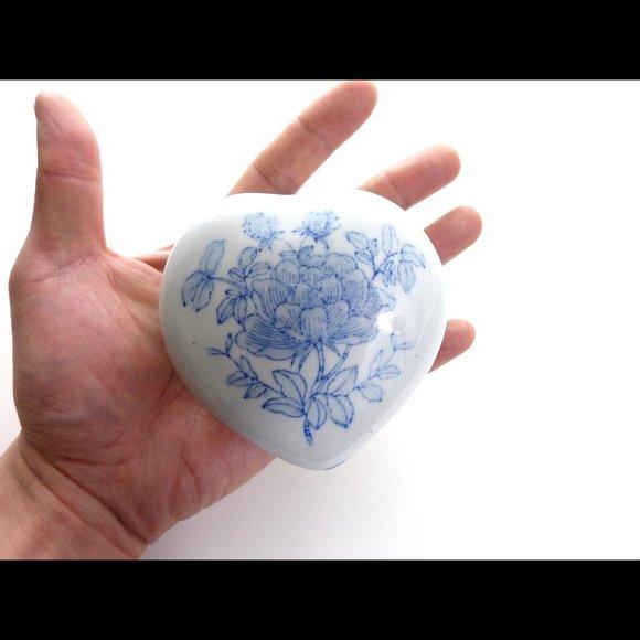 Vintage Ceramic Heart Shaped Trinket Box Blue